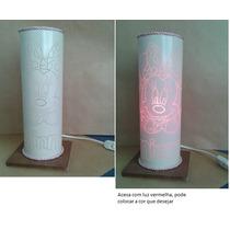 Luminária Em Pvc, Abajur Em Pvc Minnie 30 X 10cm Base Mdf