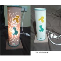 Luminária Em Pvc, Abajur Em Pvc Sininho 30 X 10cm Base Mdf