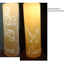 Luminária Em Pvc, Abajur Um Pvc Branca De Neve 30 X 10cm