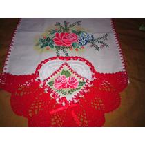 Pano De Prato Pintados E Com Corações Em Crochê 43x88cm