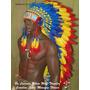 Cocar Indigena Pena Azul Nativo American Longo Penacho