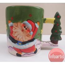 Caneca Tema Natal Papai Noel Imagem Alto Relevo Porcelana
