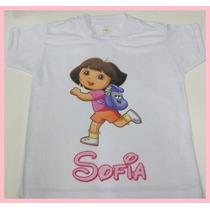 Camiseta Infantil Branca Personalizada Dora Aventureira