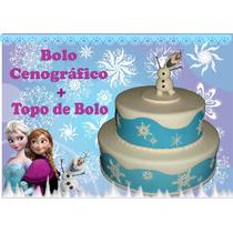 Bolo Tema Frozen + Topo De Bolo
