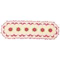 Trilho De Mesa Oval De Crochê Bege Com Flores