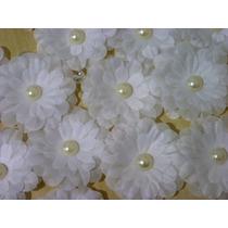 Flores Tecido Margarida 5cm Atacado Tiara Meia Pérola 10un