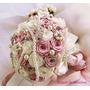 Buquê De Noiva Rosas Cetim Pérolas Broches/casamento/buquê