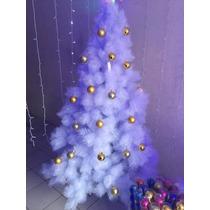 Arvore De Natal Branca Canadense C/ Bolas E Led Azul 2,1m