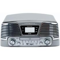 Toca Discos De Vinil Retrô Com Rádio Fm Cd Player Usb Sd Biv