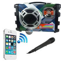 Caixa De Som Amplificada Mic Usb Mp3 Fm + Receptor Bluetooth