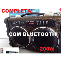 Caixa Som Amplificada Bluetooth 200w Completa, Usb, Sd Mp3