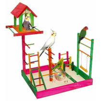 Poleiro Brinquedo Parque Para Calopsita Com Casa 40x35x53 Cm