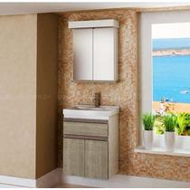Gabinete / Armário Banheiro 50 Cm M501 Com Cuba E Espelheira