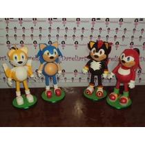 Turma Do Sonic Em Eva 3d 23 Cm - Kit C/ 4