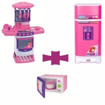 Kit Microondas + Geladeira Super + Cozinha Mágica Magic Toys