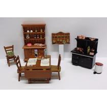 Miniatura Cozinha Casa Boneca- 1:12- Armário,mesa E Cadeiras
