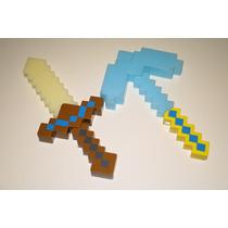 Minecraft Espada 37cm Ou Picareta 35cm Com Som E Luz Led Und