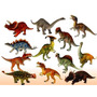 Kit C/ 12 Mini Dinossauros De 15 - 18cm Emborrados Na Caixa