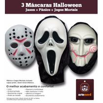 São 3 Máscaras Pânico + Jason + Jigsaw (combo Halloween)