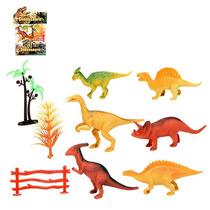 Dinossauro Plastico Com 6 Peças E 4 Acessórios