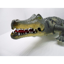 Super Dinossauro Crocodilo 50cm Acende Olhos Mexe Boca Anda