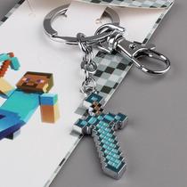 Minecraft Espada De Diamante Chaveiro De Metal + Pulseira
