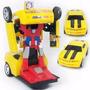 Carrinho Camaro Amarelo Vira Robô Emite Luz Som Transformers
