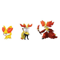 Bonecos Pokemon Fennekin, Braixen E Delphox