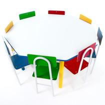 Mesa Infantil Oitavada Com 8 Cadeiras De Ferro 1738 - Carlu