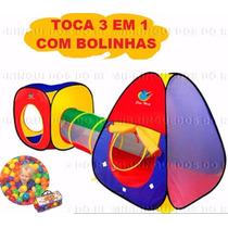 Toca Barraca Infantil - 3 Em 1 - Com Túnel + 100 Bolinhas