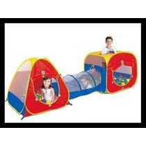 Toca Barraca Infantil 3 Em 1 Tunel + 150 Bolinhas Braskit