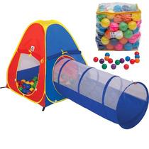 Barraca Infantil 3 Em 1 Cabana Túnel E Toca Com Bolinhas