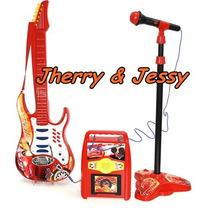 Kit Banda Infantil Guitarra Microfone E Amplificador
