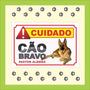 Placa Advertência Cuidado Cão Bravo Várias Raças Pastor