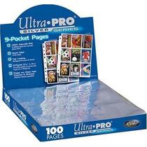 10 Folhas Ultra-pro 9 Bolsos - P/ Fichário/pasta De Cards