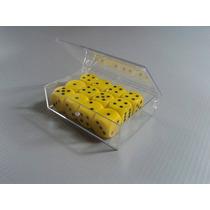 Kit 12 Dados D6 Clássicos Amarelo Em Caixa Acrílica