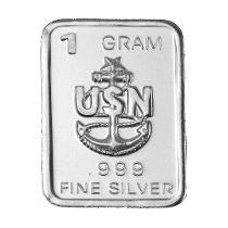 Barra De Prata Pura 999 De 1 Grama Usn (marinha Usa) (884)