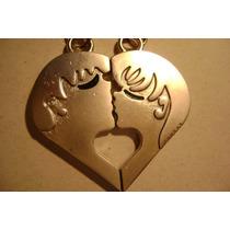 Frete9,90 Chaveiro Cara Metade Casal Beijando Forma Coração