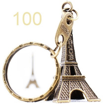 Kit 100 Chaveiros Torre Eiffel Paris Bronze França Metal