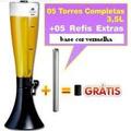 5 Torres De Chopp Ou Ceveja 3,5 L. + 05 Refil Adicional