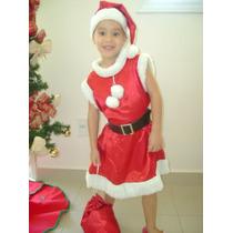 Roupa De Mamãe Noel Infantil Luxo Fantasia De Noela Natal