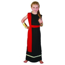 Deusa Grega Costume - Black Polyester Roman Menina Médio