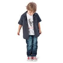 Conjunto Infantil Camisa Preta, Camiseta Branca Caveira E Ca