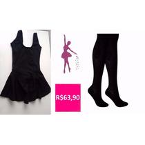 Roupa De Ballet Infantil - Kit Collant Com Saia - Preto