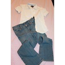 Conjunto Ralph Lauren Calça Jeans E Camisa Em Brim Tam 6