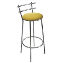 Banqueta Cromada Para Cozinha, Assento Amarelo , Alt 60 Cm
