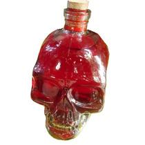 Enfeite - Garrafa E Vaso Vidro Caveira-cranio - Transparente