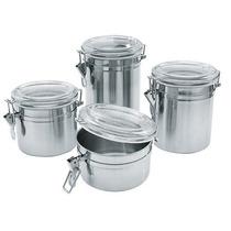 Conjunto Potes Inox Tampa Hermética Hércules 4 Peças Cozinha