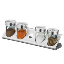 Porta Condimentos / Tempero 5 Peças De Vidro Parma Brinox