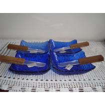 4 Petisqueiras Vidrão Azul E 4 Espátulas Madeira E Acrílico